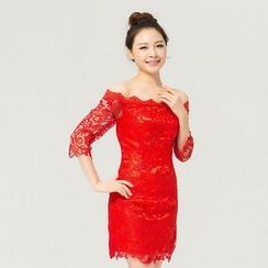 Gracia - Elbow-Sleeve Lace Mini Prom Dress