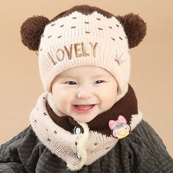 POMME - Kids Set: Letter Embroidered Beanie + Neck Warmer