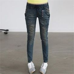CHICFOX - Band-Waist Button-Front Jeans