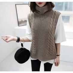 Miamasvin - Turtleneck Cable Knit Vest