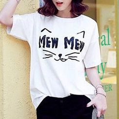 Tulander - 貓咪印花短袖T恤