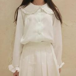QZ Lady - Cape-Collar Chiffon Blouse