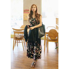 REDOPIN - Cap-Sleeve Floral-Pattern Maxi Dress