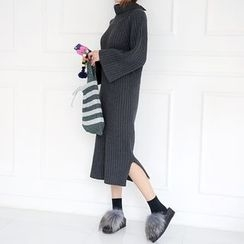 DABAGIRL - Turtle-Neck Bell-Sleeve Long Knit Dress