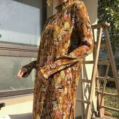 QZ Lady - Long-Sleeve Floral A-line Dress