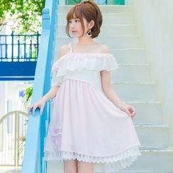 Moriville - 皺摺邊露肩短袖連衣裙