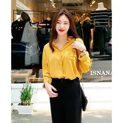 Seoul Fashion - Drop-Shoulder Chiffon Blouse