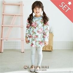 LILIPURRI - Set: Floral Pattern Dress + Plain Leggings