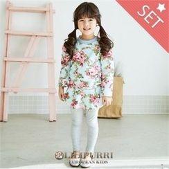 LILIPURRI - Set: Floral Pattern Dress + Plain Leggings