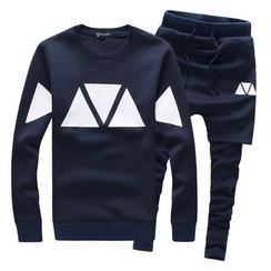 Bay Go Mall - Set: Patterned Neoprene Sweatshirt + Shorts Inset Leggings