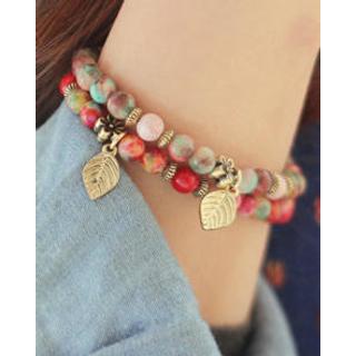 kitsch island - Leaf Charm Agate Bracelet