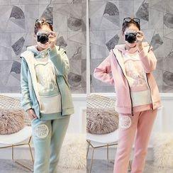 Viana Smile - Maternity Set: Fleece-Lined Hooded Vest + Hoodie + Sweatpants