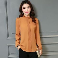 Jiuni - Frill Collar Long-Sleeve Blouse