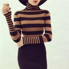 Octavia - Stripe Turtleneck Knit Dress
