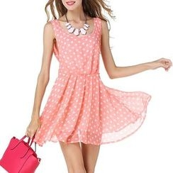 LIVA GIRL - 圓點無袖雪紡連衣裙