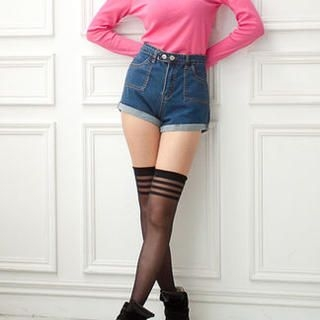 CUTIE FASHION - High-Waist Cuffed Denim Shorts