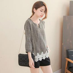 Tokyo Fashion - 3/4-Sleeve Lace-Appliqué Textured Top