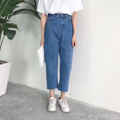 CosmoCorner - Loose-Fit Cropped Straight-Cut Jeans