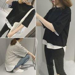 Melon Juice - Mock Two-Piece Elbow-Sleeve T-Shirt