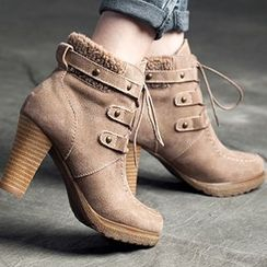 MIAOLV - Genuine Suede Lace-Up Short Boots