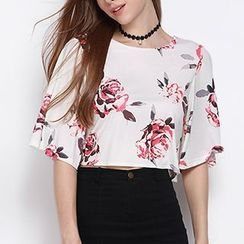Obel - Elbow-Sleeve Floral Top