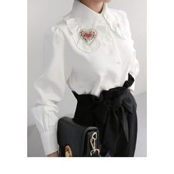 Miamasvin - Appliqué-Collar Frill-Trim Blouse