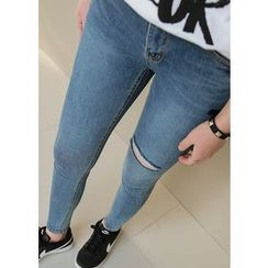 J-ANN - Distressed Washed Skinny Jeans