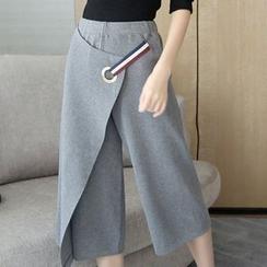 Bubbleknot - Set: Plain Knit Top + Wide-leg Pants