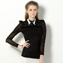 YesStyle Z - Layered-Collar Sheer-Panel Lace Blouse