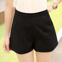 YAYAGREEN - High-Waist Wide Leg Shorts