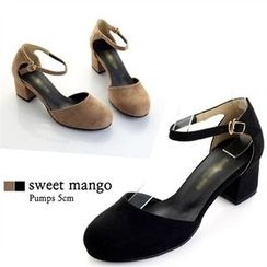 SWEET MANGO - Ankle-Strap Faux-Suede D'Orsay Pumps