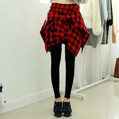 Everose - Inset Plaid Skirt Leggings