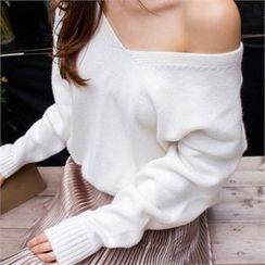 Babi n Pumkin - V-Neck Drop-Shoulder Knit Top