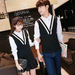 We Belong - Couple Matching Mock Two-piece Chevron Long-Sleeve Top / Dress