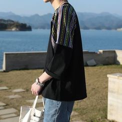 Breeson - Patterned Panel 3/4-Sleeve T-Shirt