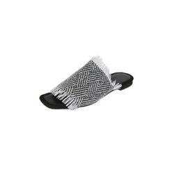 DABAGIRL - Fringed Woven Herringbone Slide Sandals