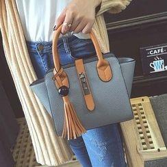 Nautilus Bags - Tasseled Faux Leather Tote Bag