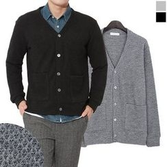 Seoul Homme - Single-Button Dual-Pocket Cardigan