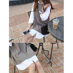 hellopeco - Pocket-Front Slit-Side Shirtdress