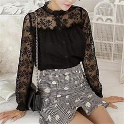 SUVINSHOP - Sheer Lace Trim Blouse