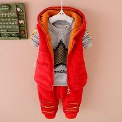 POMME - Kids Set: Hooded Vest + Print Pullover + Distressed Pants
