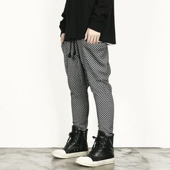 Rememberclick - Drawstring-Waist Patterned Harem Pants