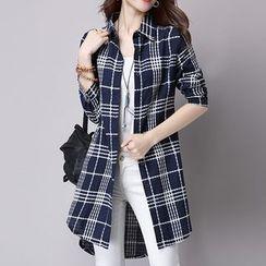 One2One - Plaid Linen Cotton Long Blouse