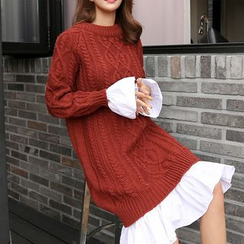 PPGIRL - Ruffle-Trim Cable-Knit Dress
