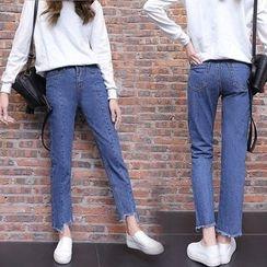 Jeans Kingdom - 散邊下襬直腿牛仔褲