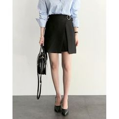 UPTOWNHOLIC - Band-Waist Warp-Front Skirt