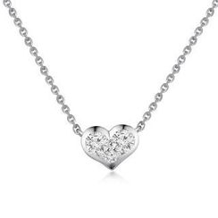 MBLife.com - Left Right Accessory - 18K/750 White Gold Diamond Heart Necklace 16' (0.18cttw)