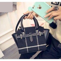 Youshine - Plaid Faux Leather Panel Handbag