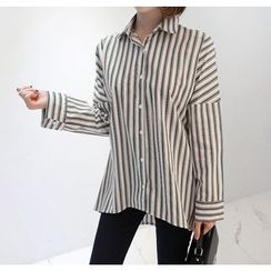 Miamasvin - Striped Loose-Fit Cotton Shirt