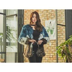 UUZONE - Color-Block Faux-Fur Jacket